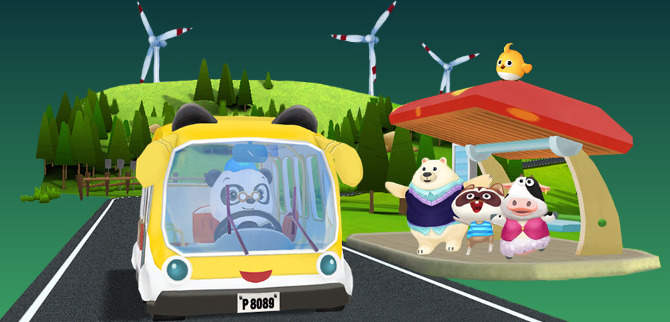 Dr. Panda and friends at the bus stop